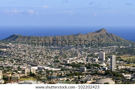 A view of Diamond Head from Tantalus Drive, Oahu, Hawaii.