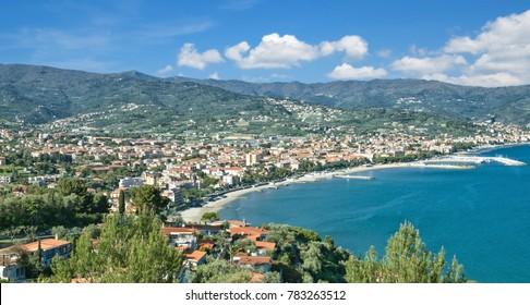 View to Diano Marina at italian Riviera,Liguria,Italy