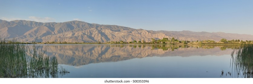 view from diaz lake near lone pine, california