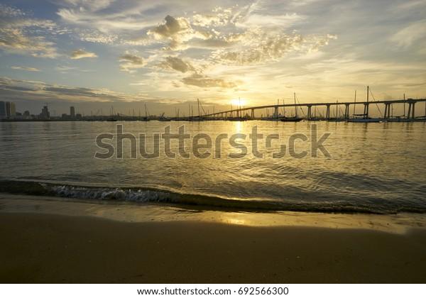 view from Dinghy Landing on Coronado Island towards the Coronado Bridge, California