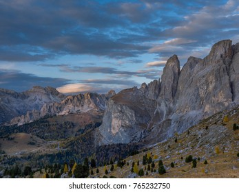 View in the direction of the Groedner Pass from the Sella Pass, Province of Bolzano-Bozen, South Tyrol, Italy, Europe