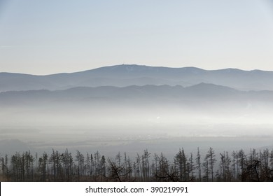 View of distant mountain ranges with air perspective