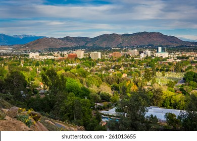 View of distant mountains and Riverside, from Mount Rubidoux Park, in Riverside, California.