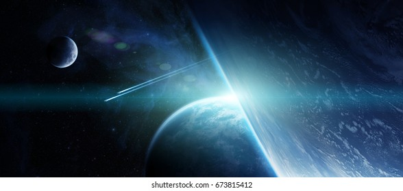 View of a distant planet system from space during a sunrise 3D rendering elements of this image furnished by NASA