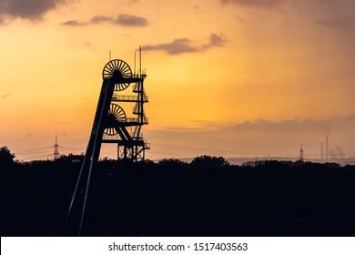 Blick auf das stillgelegte Kohlebergwerk Ewald im Ruhrgebiet in Deutschland