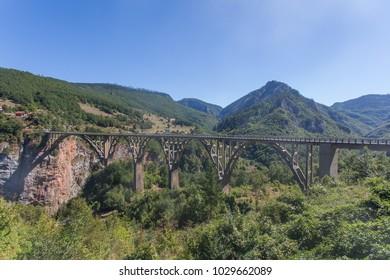 view of the Djurdjevica Bridge over the Canyon of the Tara River. Montenegro.