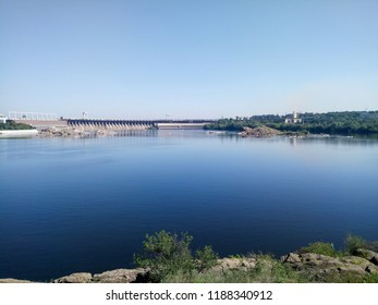View of DneproGES in Zaporozhye. Hydroelectric power station on the Dnieper River in Ukraine. Power generation