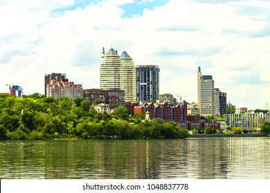 View of the Dnieper River, Monastery Island, buildings and skyscrapers of Dnipro city (Dnepropetrovsk, Dnipropetrovsk, Dnepr), Ukraine