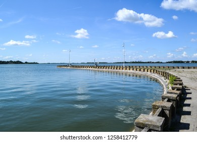 View of a dock at Palic lake in Serbia
