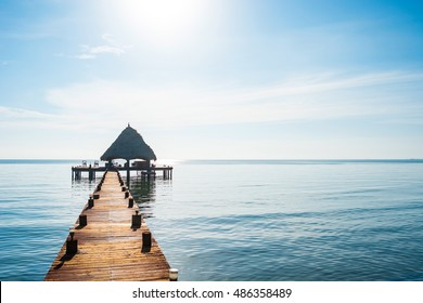 A View of a Dock in the Tropical Coast of Belize