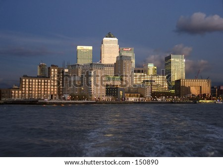 View of Docklands district of London from Thames river