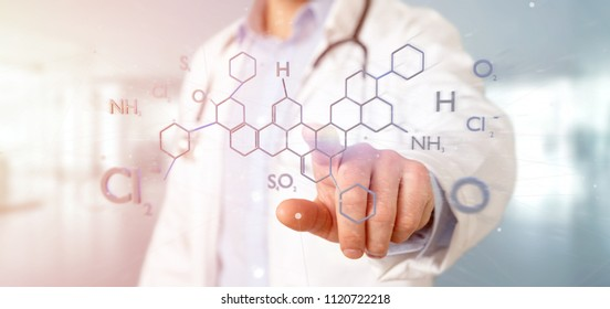 View of a Doctor holding a 3d rendering molecule structure isolated on a background