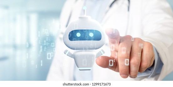 View of Doctor holding Chatbot with binary code 3d rendering