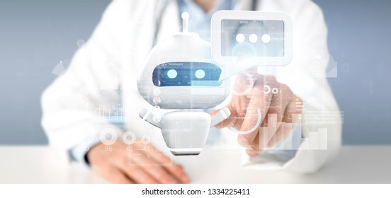 View of Doctor holding Chatbot with binary code, message and data 3d rendering
