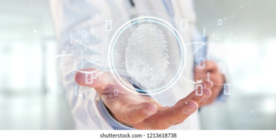 View of a Doctor holding a Digital fingerprint identification and binary code 3d rendering