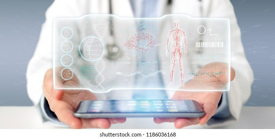View of a Doctor holding a Futuristic template interface hud