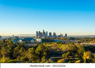 view of dodger stadium and downtown Los Angeles from Elysian Park