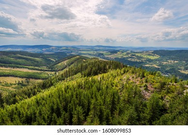 View from Dolni Morava Sky Walk observation tower to surrounding Sudetes (Sudety) mountains