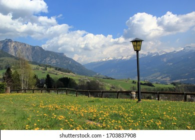 View of the Dolomites near Cavalese, Trento, Italy with white clouds