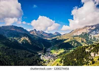 View of the Dolomites with view to the village Arabba