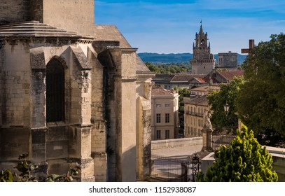 View from the Dom garden on the belfry of the town hall. Vaucluse, Provence, France, Europe.