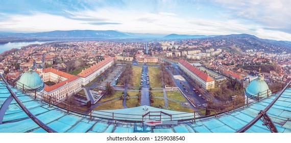 View from dome of the basilica, Esztergom, Hungary. Panoramic scene. Travel destination. Purple photo filter.