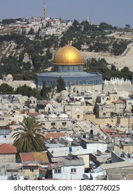 View of the Dome of the Rock and Mount of Olives  in Jerusalem