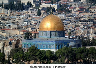View of the Dome of the Rock from the Mount of Olives, Jersusalem, Israel