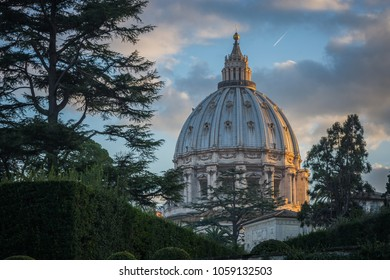 View of the dome of St. Peter's Basilica from the Vatican Gardens, Rome, Italy