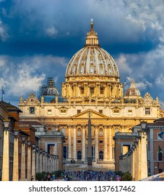 View of dome St. Peter's and Vatican in Rome. Behind the temple is the blue sky. The Vatican is the most prominent state in the world.