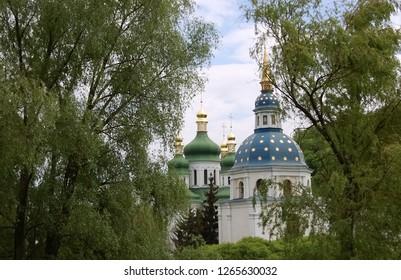View of domes the ancient Vydubitsky Monastery in Kiev, the capital of Ukraine.