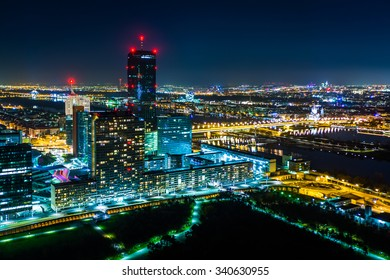 View of Donau City at night, from the Donauturm, in Vienna, Austria.