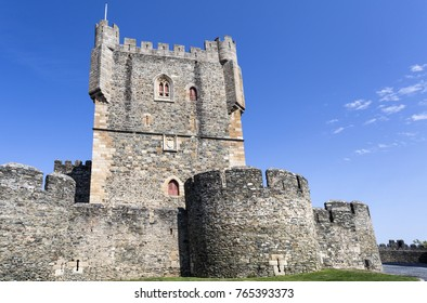 View of the donjon of the Castle of Braganca, a medieval fortress, located in the historic centre of Braganca, Portugal
