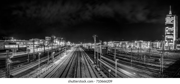 View from the Donnersberger Brücke in Munich showing the rails leading to the central station