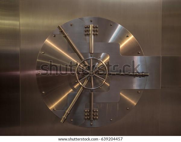 View of the door of a big vault