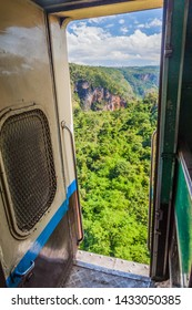 View from a door of a train crossing Gokteik (Gok Teik) viaduct on the railway line Mandalay - Hsipaw, Myanmar
