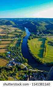View of the Dordogne River from a hot air balloon at Beynac