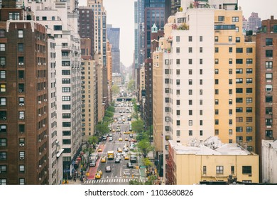 View down the 1st Avenue in Manhattan, New York City