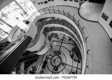 View down the central walkway at the Bangkok Art Centre, Bangkok, Thailand