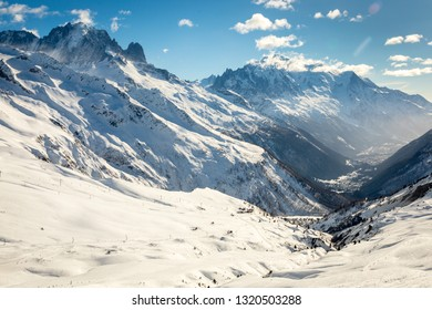 View down the Chamonix valley towards Mont Blanc from Col de Balme.  In winter with snow covered mountains