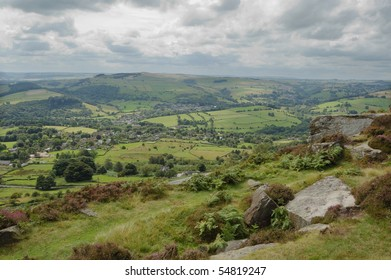 View down to Curbar from the rocks of Froggatt Edge