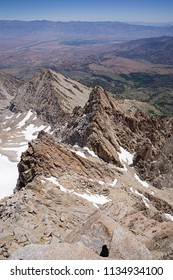 view down the east ridge of Mount Humphreys in the Sierra Nevada mountains near Bishop California