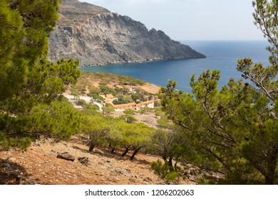 View down to Koudouma monastery, Southern Crete, Greece