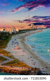 A view down Miami Beach at sunset