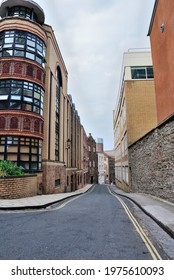 The view down the narrow Host street in Bristol, England, UK