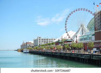 View down Navy Pier, Downtown Chicago, Illinois, USA
