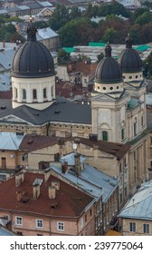 View down on the roof of the Ukrainian city of Lviv