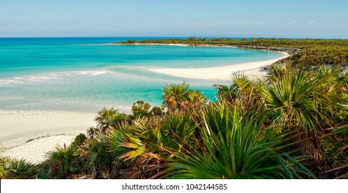 A view down the perfect, isolated beach on Shroud Cay in the Exumas, Bahamas.