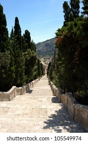 View down to Pollensa from the Calvary steps, Mallorca