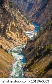 View down the river of Grand Canyon in Yellowstone National Park